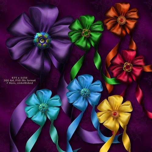 Атласные банты - сочные нарисованные атласные банты с лентами, каждый во множестве цветовых